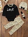 Bebelus Fete Set Îmbrăcăminte Imprimeu Animal Bumbac Poliester Zilnic Ieșire Primăvară Toamnă Manșon Lung Simplu Casual Negru