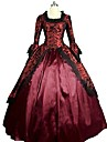 Victorian Rococo Costume Women\'s Adults\' Dress Red Vintage Cosplay Flocking Reasonable 3/4 Length Sleeves Puff/Balloon
