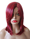 Syntetiska peruker Vågigt Afro-amerikansk peruk Sidodel Med lugg Utan lock Svart Röd Celebrity Wig Partyperuk Lolita peruk Cosplay Peruk