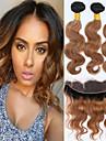 4 delar Svart / Medium Rödbrun Kroppsvågor Malaysiskt hår Hårförlängning av äkta hår Hårförlängningar 0.4kg