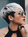 Human Hair Capless Wigs Human Hair Straight Pixie Cut / With Bangs Ombre Hair / Dark Roots / Side Part Ombre Short Machine Made Wig