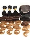 3 комплекта с закрытием Бразильские волосы Естественные кудри 8A Натуральные волосы Омбре 12-26 дюймовый Ткет человеческих волос Шерсть Лучшее качество Шелковые базовые волосы