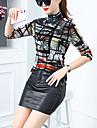 Pentru femei Guler Pe Gât - Mărime Plus Size Bluză Ieșire / Muncă Bloc Culoare Imprimeu / Primăvară / Zvelt