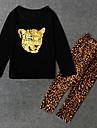 Fete Animal Set Îmbrăcăminte, Poliester Primăvară Toamnă Manșon Lung Negru Bej Gri Închis