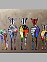 HANDMÅLAD Djur Popkonst Horisontell, Moderna Duk Hang målad oljemålning Hem-dekoration En panel