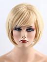 Syntetiska peruker Rak Bob-frisyr Med lugg Densitet Utan lock Dam Blond Naturlig peruk Korta Syntetiskt hår