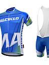 Malciklo Herr Kortärmad Cykeltröja med Haklapp-shorts - Vit Svart Brittisk Geometrisk Cykel Klädesset, 3D Tablett, Snabb tork,