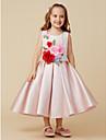 Ballkleid Knie-Laenge Blumenmaedchenkleid - Satin AErmellos Schmuck mit Spitze / Blume durch LAN TING BRIDE®