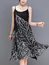 Pentru femei Ieșire Concediu Sofisticat Larg Swing Rochie - Imprimeu, Geometric Cu Bretele Lungime Genunchi