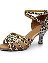 Kadın\'s Saten / Yapay Deri Latin Dans Ayakkabıları Ayrık Renkler Sandaletler / Topuklular Kişiye Özel Kişiselleştirilmiş Gümüş / Leopar / Çıplak / İç Mekan / EU40