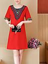 Pentru femei Mărime Plus Size De Bază Shift Rochie - Imprimeu, Geometric Sub Genunchi Roșu / Primăvară