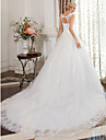 Ball Gown Scoop Neck Cathedral Train Satin Lace Over Tulle Custom Wedding Dresses with Beading Lace by LAN TING BRIDE®