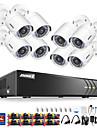 systeme de cameras de securite annke® 8ch 1080p avec 8 cameras sans disque dur avec cameras ip 8pcs
