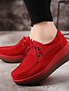 Pentru femei Pantofi PU Primăvară / Toamnă Confortabili Adidași Toc Drept Gri / Rosu / Albastru