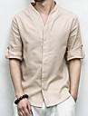 Pánské - Jednobarevné Základní Košile Podšívka Béžová XXXL / Dlouhý rukáv