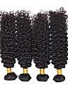 Brasilianskt hår Kinky Curly Hårförlängningar av äkta hår 4 paket 8-28tum Hårförlängning av äkta hår Förlängning / Heta Försäljning Svart