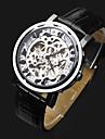 ASJ Heren Skeleton horloge Polshorloge mechanische horloges Automatisch opwindmechanisme Leer Zwart Hol Gegraveerd Analoog Luxe Modieus - Zilver