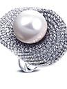 Pentru femei Perle Inel de declarație - Perle, Zirconiu European, Modă, Supradimensionat 6 / 7 / 8 / 9 Alb / Gri Pentru Petrecere Cadou