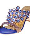 Pentru femei Pantofi PU Vară Pantof cu Berete Sandale Toc Îndesat Negru / Albastru Deschis / Bleumarin