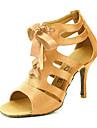 Pentru femei Sală Dans / Pantofi Salsa Satin Sandale Cataramă Personalizabili Pantofi de dans Galben / Fucsia / Violet