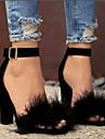 Pentru femei Pantofi Piele nubuc Primăvară / Vară Confortabili / Balerini Basic Sandale Toc Îndesat Negru / Maro