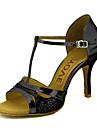 Pentru femei Pantofi Dans Latin / Pantofi Salsa Sclipici Spumant / Imitație de Piele Sandale / Călcâi Cataramă / Legătură Panglică Toc Personalizat Personalizabili Pantofi de dans Auriu / Negru