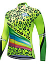 CYCOBYCO Women\'s Long Sleeve Cycling Jersey - Green Leopard Plus Size Bike Sweatshirt Jersey Top Quick Dry Reflective Strips Sports Polyester 100% Polyester Mountain Bike MTB Road Bike Cycling