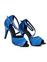 Pentru femei Pantofi Dans Latin Satin Adidași Detalii Cristal Subțire superioară Pantofi de dans Negru / Mov / Albastru / Antrenament
