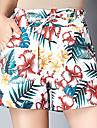 Women\'s Active Plus Size Loose Shorts Pants - Floral Tropical Leaf, Print High Waist Blue