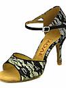 בגדי ריקוד נשים נעליים לטיניות / נעלי סלסה תחרה סנדלים / עקבים אבזם / עניבת פרפר עקב מותאם מותאם אישית נעלי ריקוד לבן / צהוב בהיר / אדום / הצגה / עור / מקצועי