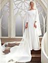 Linea-A Bateau Neck Strascico da cappella Raso Abiti da sposa su misura con di LAN TING BRIDE®