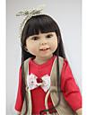 NPKCOLLECTION MUNECA NPK Muneca de moda Chica de campo 18 pulgada Cuerpo completo de silicona Vinilo - natural Regalo Artificial Implantation Brown Eyes Kid de Chica Juguet Regalo