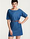 Pentru femei Mărime Plus Size Șic Stradă Denim Rochie Mată Sub Genunchi Albastru / Primăvară / Vară / Toamnă