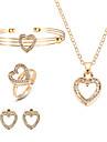 Γυναικεία Χιαστί Κοσμήματα Σετ Στρας Καρδιά Ευρωπαϊκό, Μοντέρνα Περιλαμβάνω Κρεμαστό Σκουλαρίκι Βραχιόλι Δαχτυλίδι Χρυσό Για Πάρτι / Cercei
