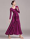 Ballroom Dance Dresses Women\'s Training / Performance Lace / Tulle / Ice Silk Draping / Ruching / Split Joint Long Sleeve High Dress