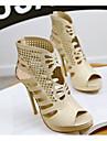 Pentru femei Pantofi PU Vară Confortabili Sandale Toc Stilat Auriu / Alb / Negru