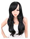 Syntetiska peruker Vågigt Kardashian Stil Sidodel Utan lock Peruk Svart Svart Syntetiskt hår Dam Justerbar / Värmetåligt / syntetisk Svart Peruk Lång / Ja