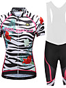 Malciklo Kadın\'s Askılı Şortlu Bisiklet Forması - Beyaz Siyah Çiçek / Botanik Büyük Bedenler Bisiklet Bisiklet Şortu Forma Hızlı Kuruma Anatomik Tasarım Yansıtıcı çizgili Spor Dalları Likra Çiçek
