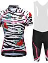 Malciklo Women\'s Cycling Jersey with Bib Shorts - White / Black Plus Size Bike Bib Shorts Jersey Quick Dry Anatomic Design Reflective Strips Sports Lycra Floral / Botanical Mountain Bike MTB Road