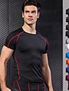 Per uomo Girocollo Basic Maglia a compressione Gli sport Strisce Elastene T-shirt Per Corsa, Fitness, Palestra Manica corta Abbigliamento sportivo Traspirante, Asciugatura rapida, Stretching a 4 vie