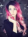 Синтетические кружевные передние парики Волнистый Kardashian Стиль Лента спереди Парик Розовый Розовый + Красный Искусственные волосы Жен. Природные волосы Розовый Парик Длинные Uniwigs