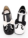 Zapatos Gosurori Amaloli Lolita Clasica y Tradicional Moda Punk Princesa Gotico Tacon Cono Zapatos Lineas / Olas Encaje de costura 6.5 cm CM Blanco / Negro Para Mujer Cuero de PU Disfraces de