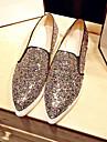 Femme Chaussures Crin de Cheval Automne Confort Mocassins et Chaussons+D6148 Talon Plat Bout pointu Paillette Violet / Marron / Argent