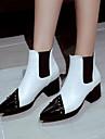女性用 靴 PUレザー 春 & 秋 ブーティー ブーツ チャンキーヒール ポインテッドトゥ ブーティー/アンクルブーツ リベット ホワイト / ブラック / レッド