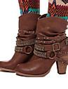 Γυναικεία Fashion Boots PU Φθινόπωρο & Χειμώνας Μπότες Κοντόχοντρο Τακούνι Μυτερή Μύτη Μπότες στη Μέση της Γάμπας Τεχνητό διαμάντι / Καρφιά / Αγκράφα Καφέ / Καφέ / Χακί
