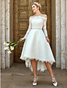 A-라인 오프 숄더 비대칭 레이스 Made-To-Measure 웨딩 드레스 와 레이스 / 크리스탈 브로치 으로 LAN TING BRIDE® / 일루젼 / 아름다운 뒤태