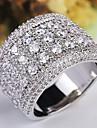 Dam Trendig Stardust Ring - Koppar, Platina Pläterad, Diamantimitation Stjärna, Gypsophila Klassisk, Överdrift, Franska 6 / 7 / 8 / 9 / 10 Silver Till Bröllop Party