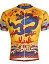 ILPALADINO Herre Kortærmet Cykeltrøje - Gul / Sort Cykel Trøje Toppe Åndbart Hurtigtørrende Ultraviolet Resistent Sport Polyester 100% Polyester Terylene Bjerg Cykling Vej Cykling Tøj / Elastisk