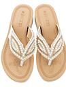 Per donna Scarpe comfort PU (Poliuretano) Estate Sandali Piatto Blu / Rosa / Tessuto almond