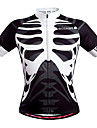 WOSAWE Men's Unisex Short Sleeve Cycling Jersey - Black / White Skeleton Bike Jersey Top Breathable Quick Dry Back Pocket Sports Polyester Mountain Bike MTB Road Bike Cycling Clothing Apparel